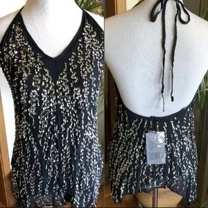 Zara Sequin Backless Top NWT